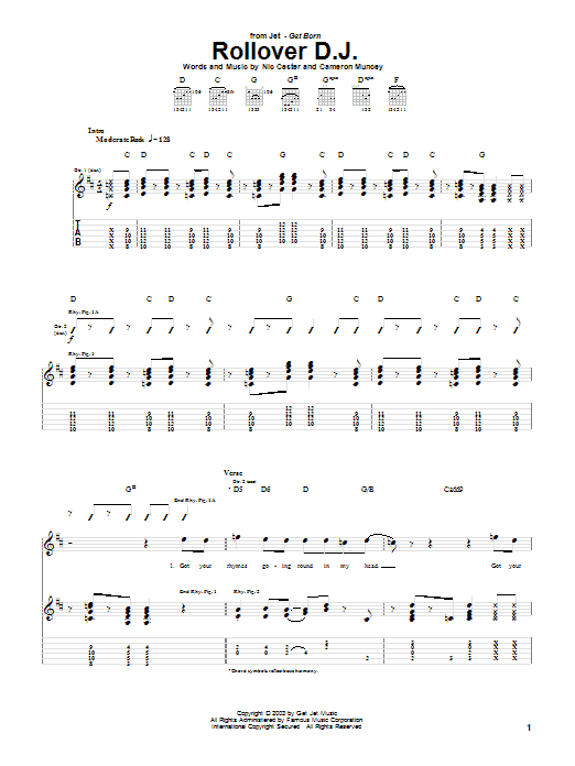 Jet Rollover D.J. sheet music notes and chords. Download Printable PDF.