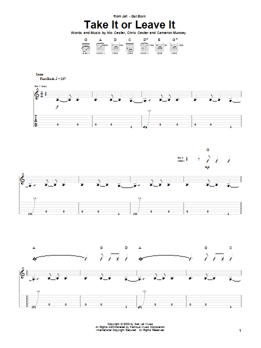 Jet Take It Or Leave It sheet music notes and chords. Download Printable PDF.
