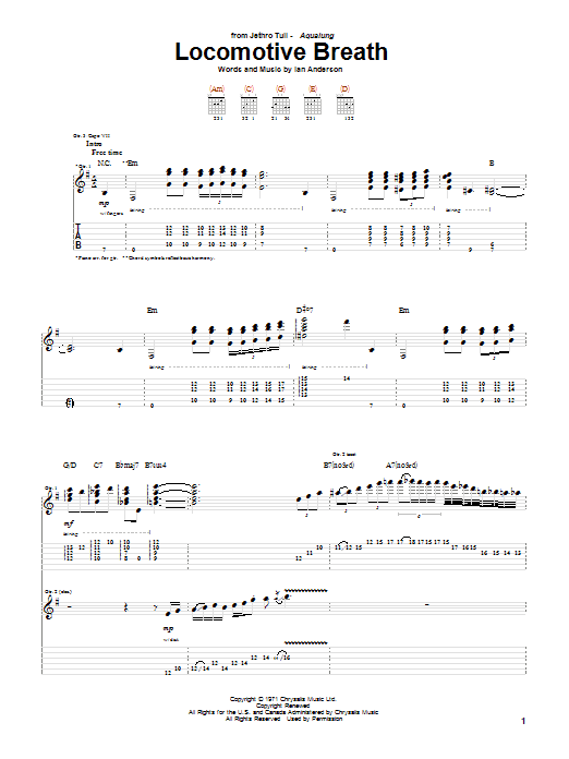 Jethro Tull Locomotive Breath sheet music notes and chords