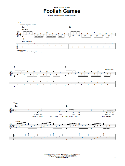 Jewel Foolish Games sheet music notes and chords. Download Printable PDF.