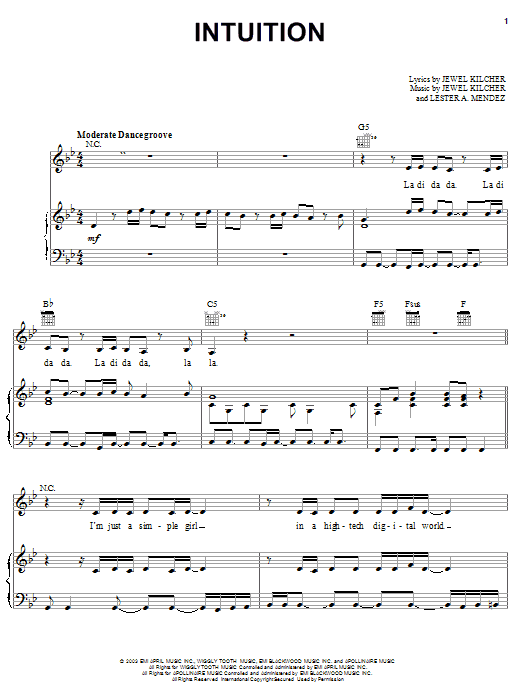 Jewel Intuition sheet music notes and chords