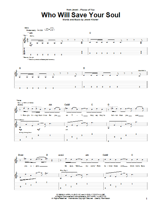 Jewel Who Will Save Your Soul sheet music notes and chords. Download Printable PDF.