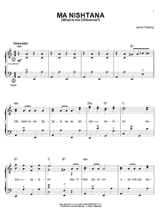 Jewish Folksong Ma Nishtana (What Is The Difference?) sheet music notes and chords. Download Printable PDF.