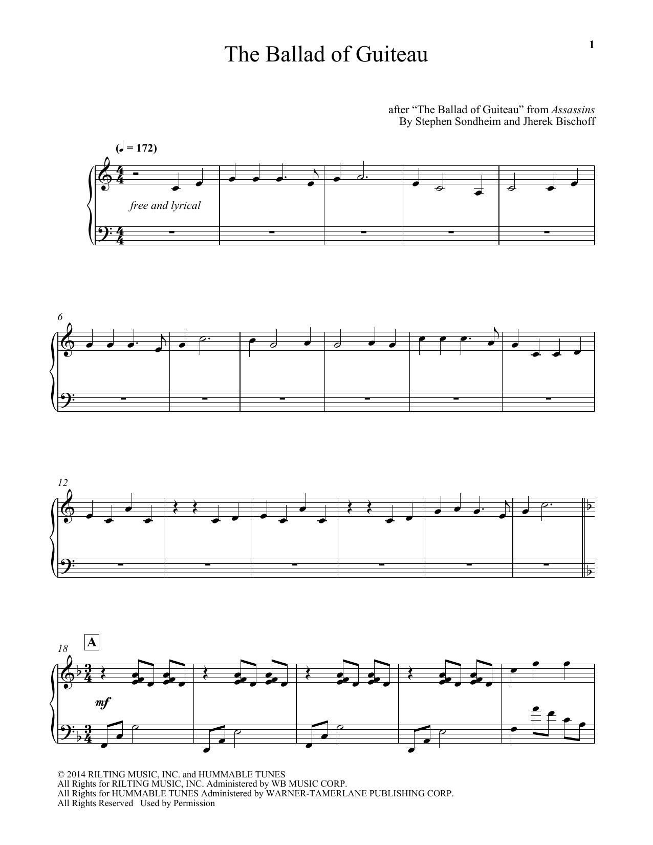 Stephen Sondheim The Ballad Of Guiteau (arr. Jherek Bischoff) sheet music notes and chords. Download Printable PDF.