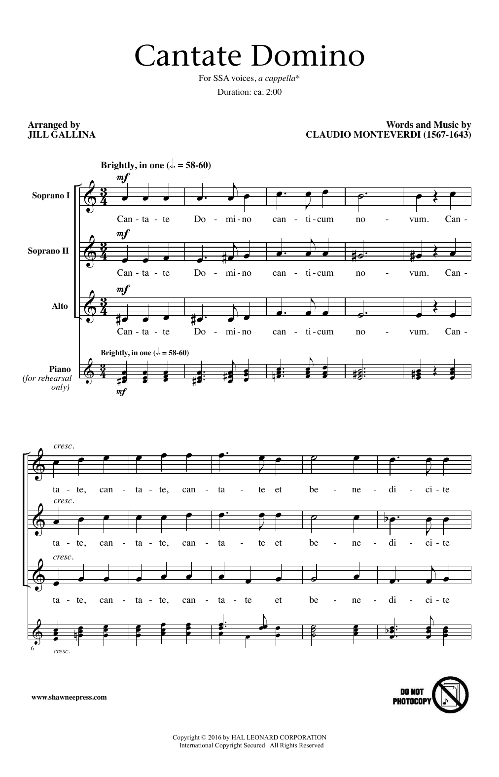 Jill Gallina Cantate Domino sheet music notes and chords