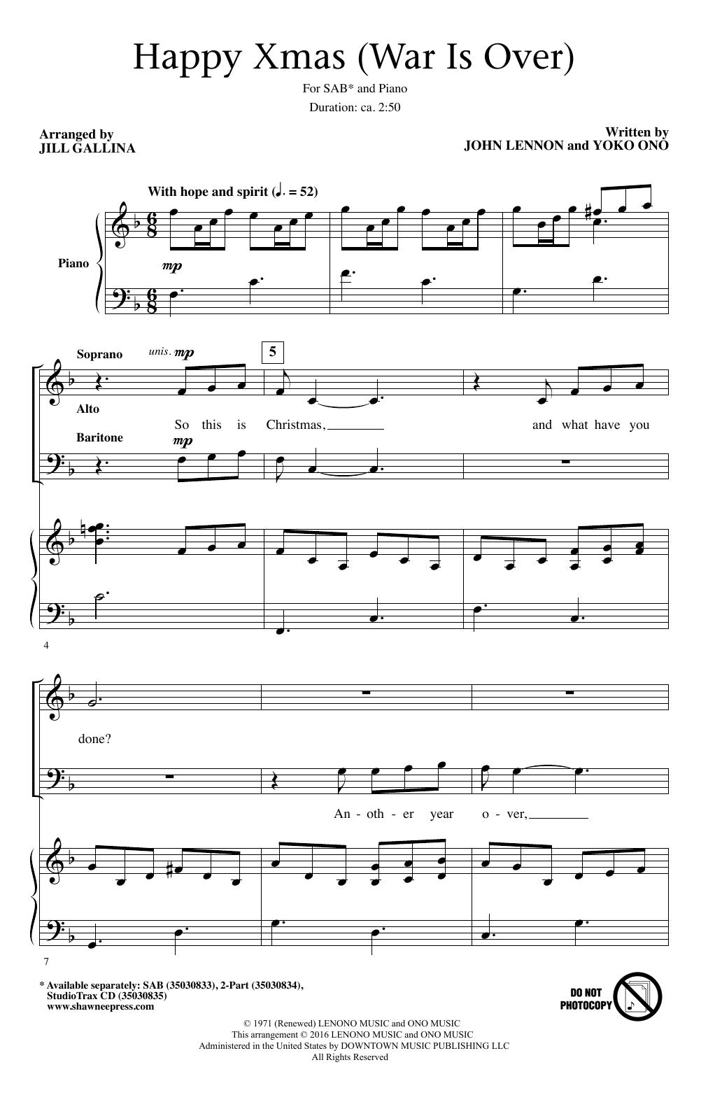 Happy Christmas War Is Over Chords.Jill Gallina Happy Xmas War Is Over Sheet Music Notes Chords Download Printable 2 Part Choir Sku 195638