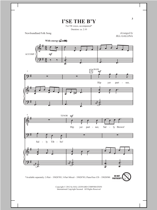 Jill Gallina I's The B'y sheet music notes and chords. Download Printable PDF.