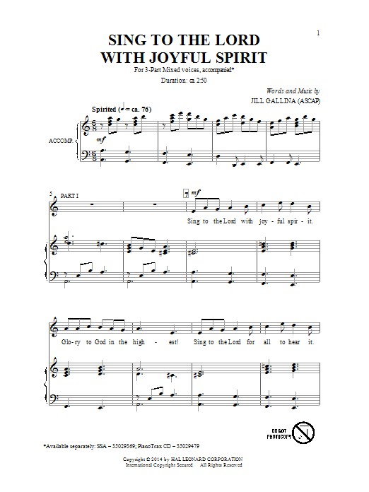 Jill Gallina Sing To The Lord With Joyful Spirit sheet music notes and chords. Download Printable PDF.