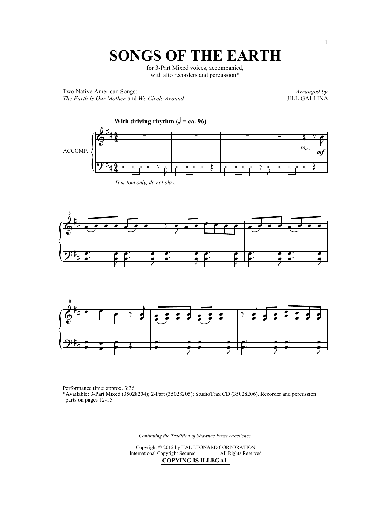 Jill Gallina The Earth Is Our Mother sheet music notes and chords. Download Printable PDF.