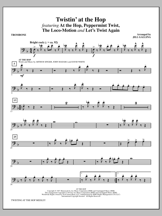 Jill Gallina Twistin' at the Hop - Trombone sheet music notes and chords. Download Printable PDF.