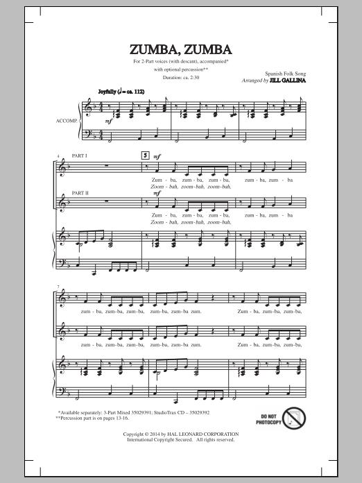Jill Gallina Zumba, Zumba sheet music notes and chords. Download Printable PDF.