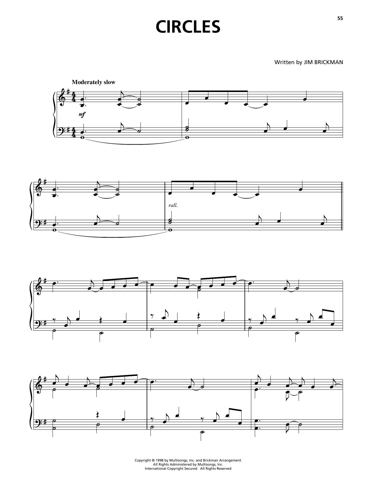 Jim Brickman Circles sheet music notes and chords
