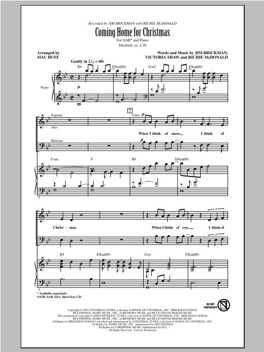 Jim Brickman Coming Home For Christmas (arr. Mac Huff) sheet music notes and chords. Download Printable PDF.