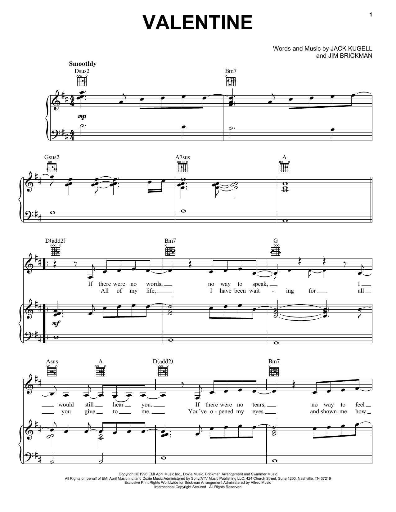 Jim Brickman with Martina McBride Valentine sheet music notes and chords