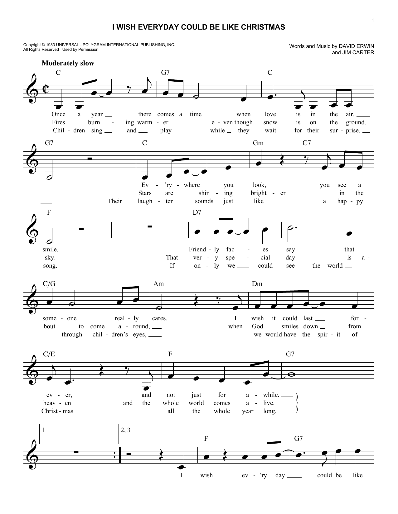 Jim Carter I Wish Everyday Could Be Like Christmas sheet music notes and chords. Download Printable PDF.