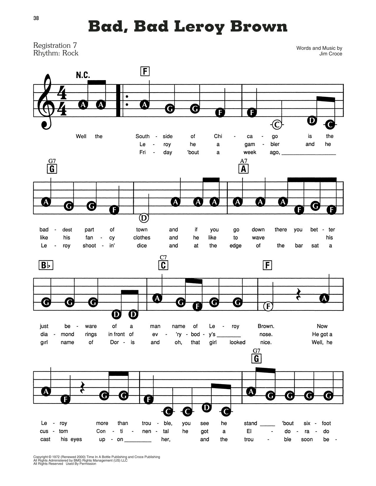 Jim Croce Bad, Bad Leroy Brown sheet music notes and chords. Download Printable PDF.