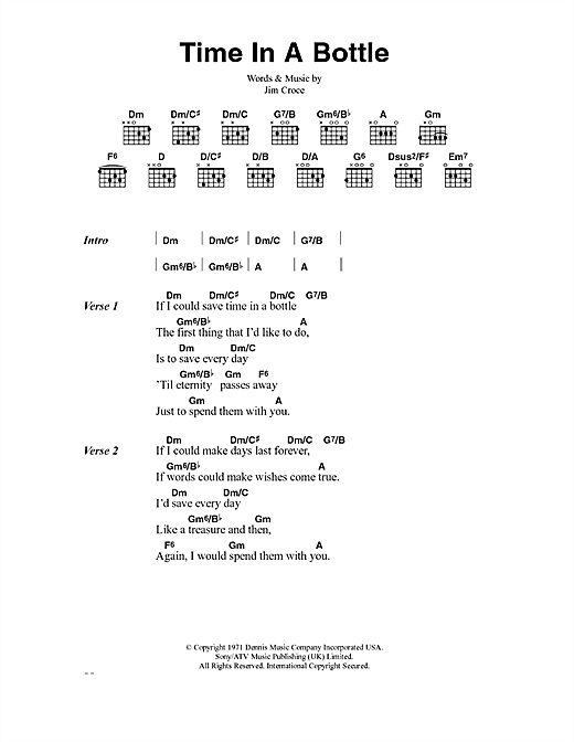 Jim Croce Time In A Bottle sheet music notes and chords