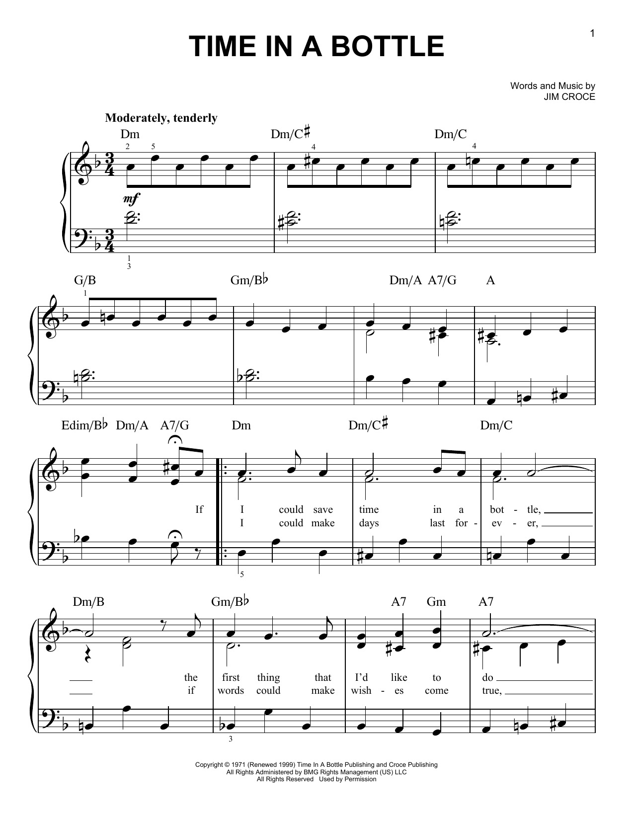 Jim Croce Time In A Bottle sheet music notes and chords. Download Printable PDF.
