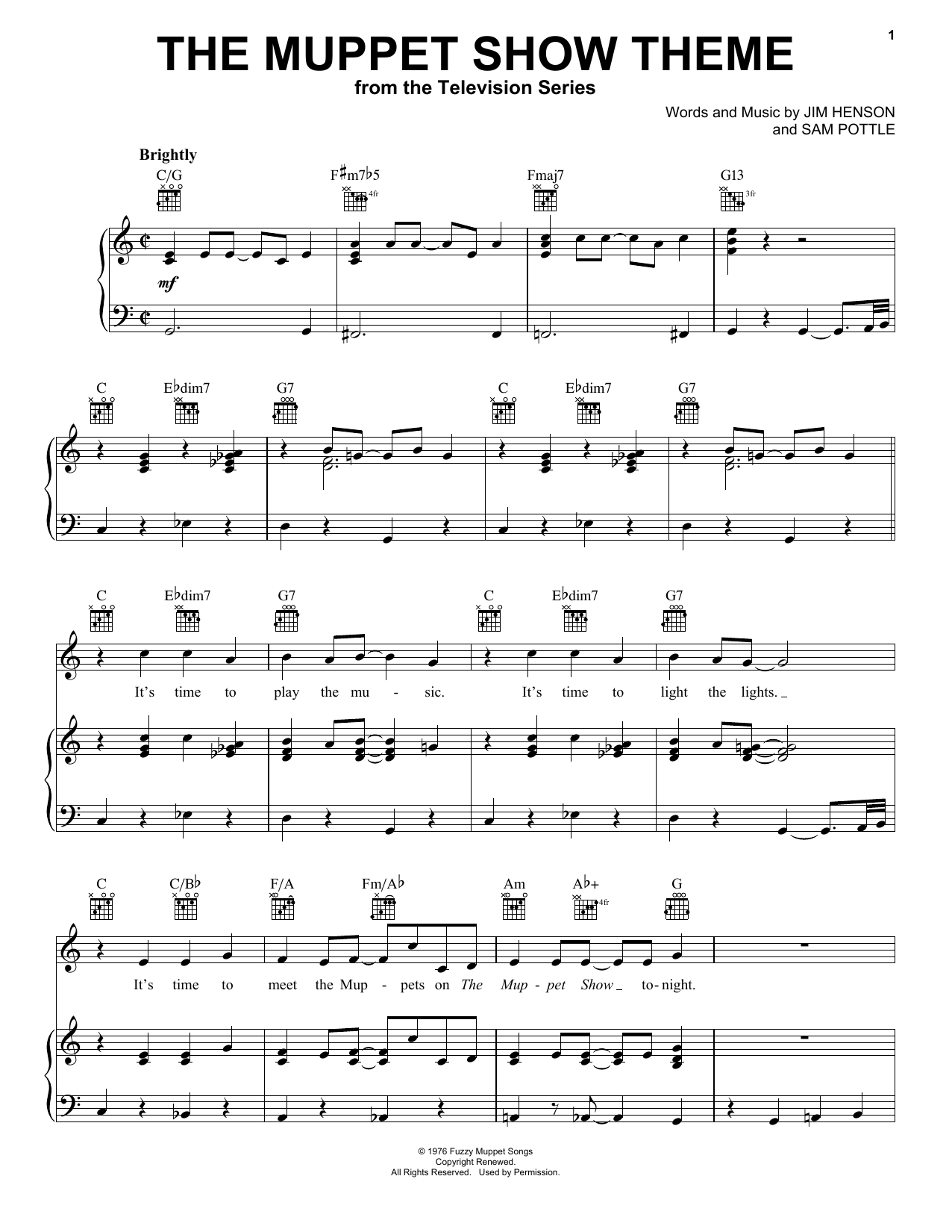 Jim Henson The Muppet Show Theme sheet music notes and chords. Download Printable PDF.