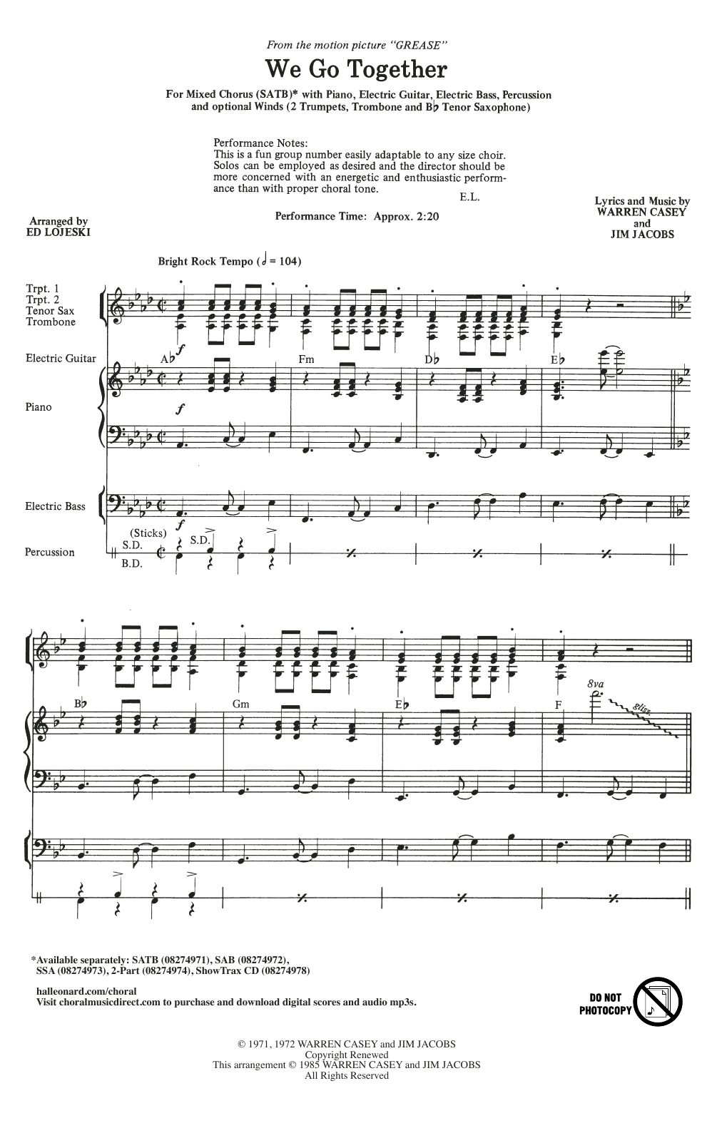 Jim Jacobs & Warren Casey We Go Together (from Grease) (arr. Ed Lojeski) sheet music notes and chords