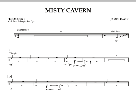 Jim Kazik Misty Cavern - Percussion 1 sheet music notes and chords. Download Printable PDF.