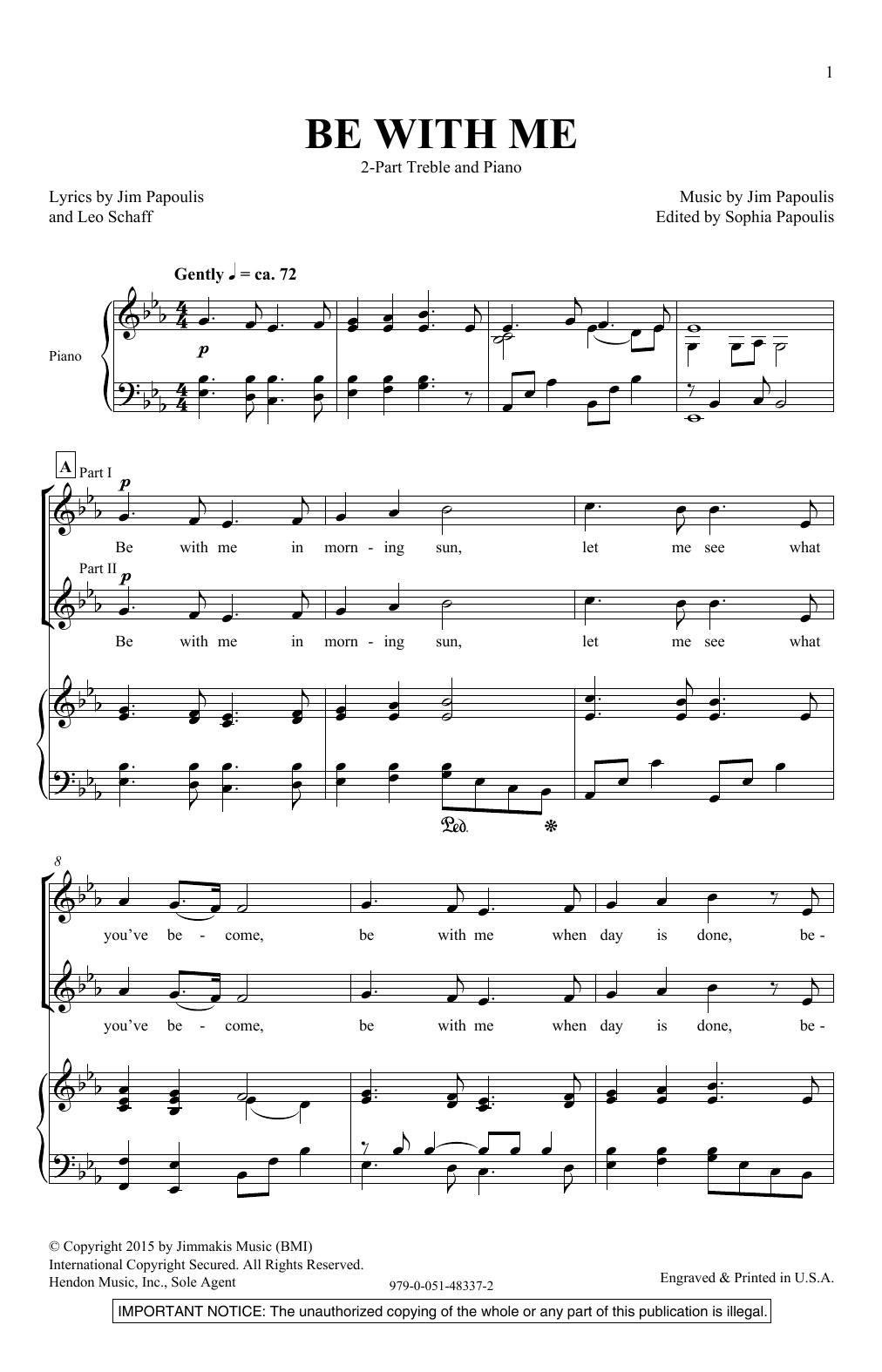 Jim Papoulis Be With Me sheet music notes and chords. Download Printable PDF.
