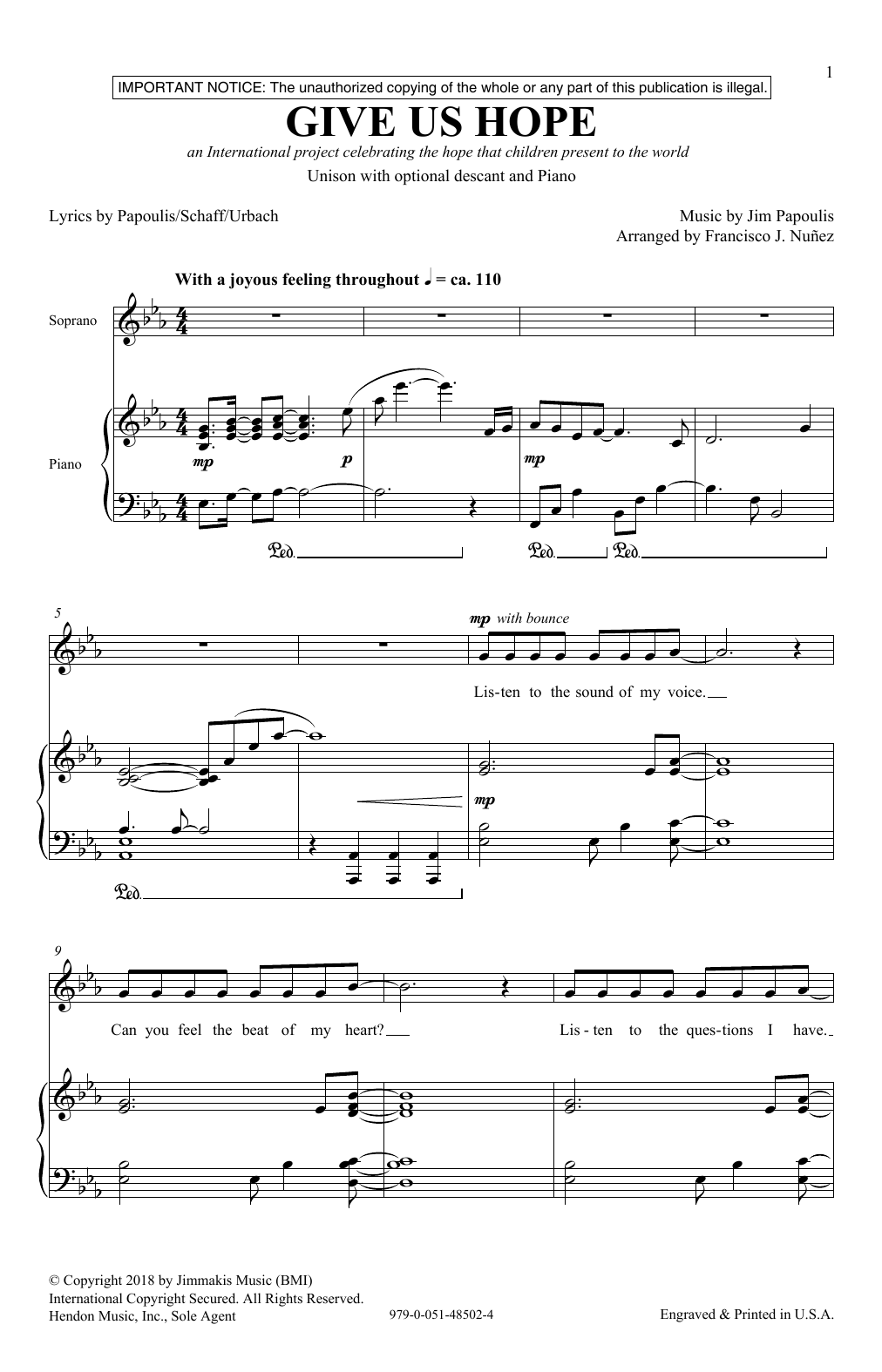 Jim Papoulis Give Us Hope sheet music notes and chords