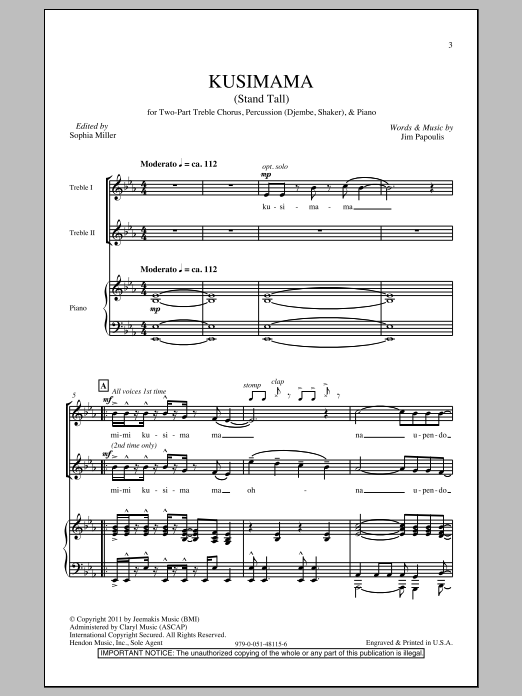 Jim Papoulis Kusimama (Stand Tall) sheet music notes and chords. Download Printable PDF.