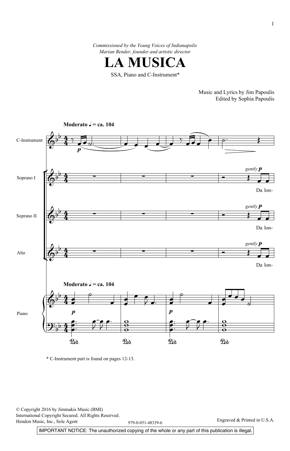 Jim Papoulis La Musica sheet music notes and chords