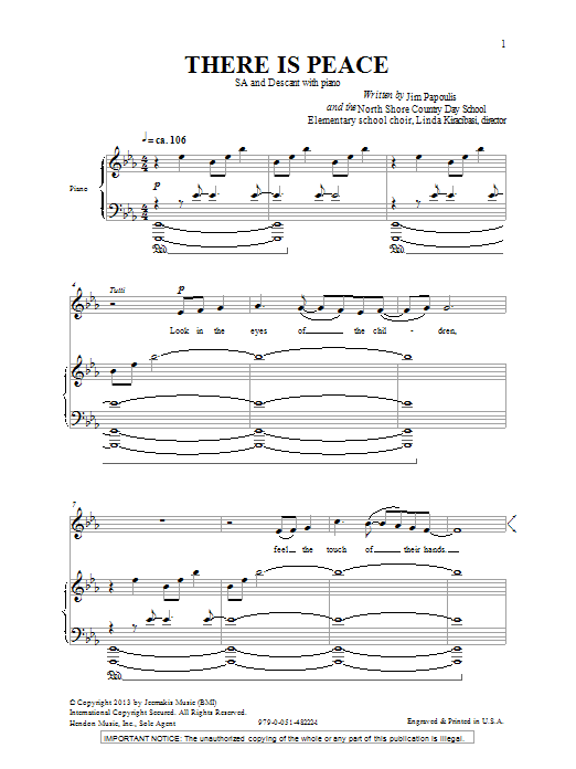 Jim Papoulis There Is Peace sheet music notes and chords. Download Printable PDF.