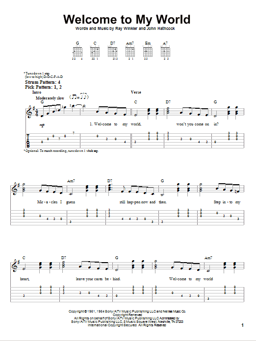 Jim Reeves Welcome To My World sheet music notes and chords. Download Printable PDF.