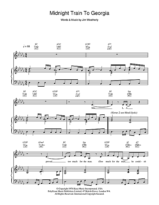 Jim Weatherly Midnight Train To Georgia sheet music notes and chords