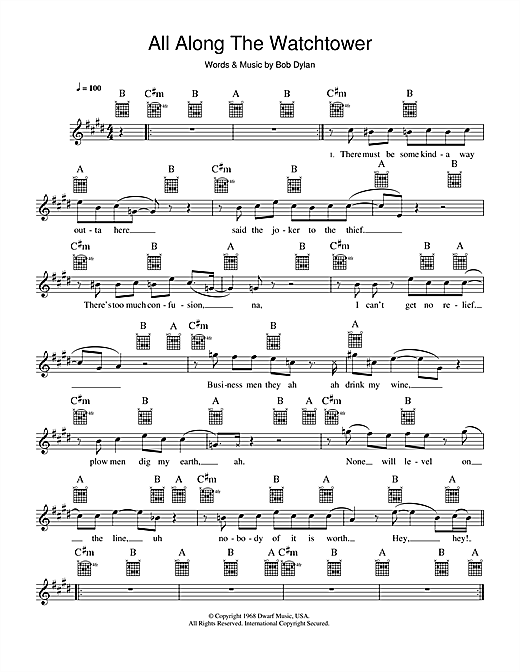 Jimi Hendrix All Along The Watchtower sheet music notes and chords. Download Printable PDF.
