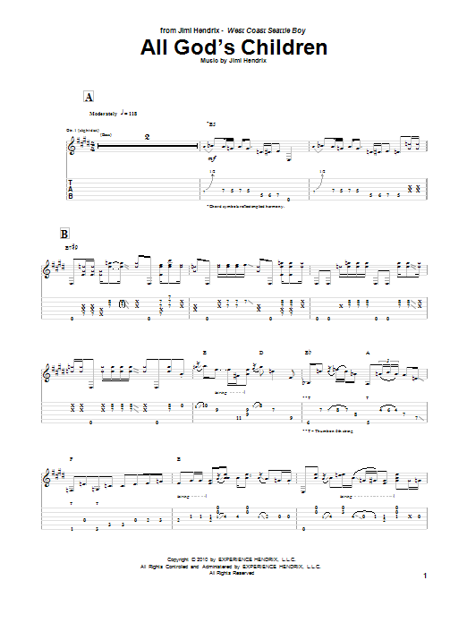 Jimi Hendrix All God's Children sheet music notes and chords. Download Printable PDF.