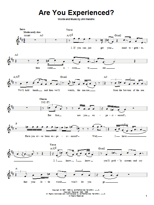 Jimi Hendrix Are You Experienced? sheet music notes and chords. Download Printable PDF.