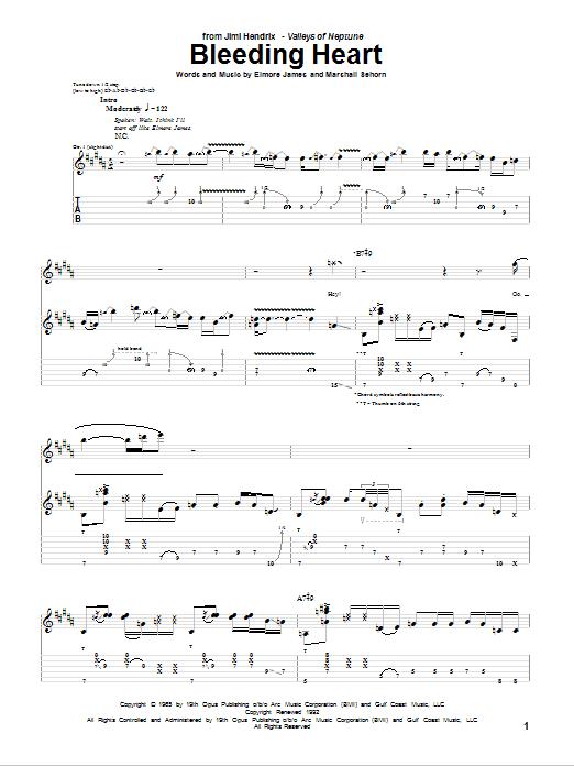 Jimi Hendrix Bleeding Heart sheet music notes and chords. Download Printable PDF.