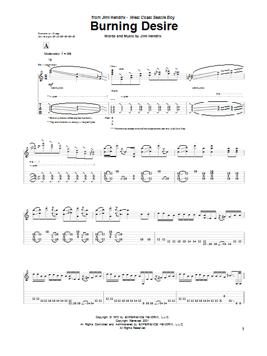 Jimi Hendrix Burning Desire sheet music notes and chords. Download Printable PDF.
