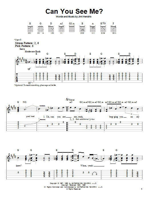 Jimi Hendrix Can You See Me sheet music notes and chords. Download Printable PDF.