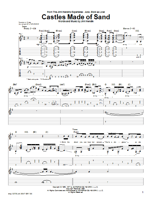 Jimi Hendrix Castles Made Of Sand sheet music notes and chords. Download Printable PDF.