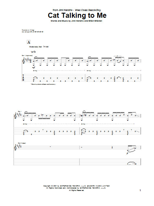 Jimi Hendrix Cat Talking To Me sheet music notes and chords. Download Printable PDF.