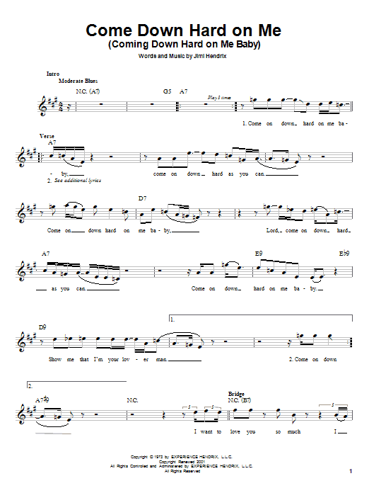 Jimi Hendrix Come Down Hard On Me (Coming Down Hard On Me Baby) sheet music notes and chords. Download Printable PDF.