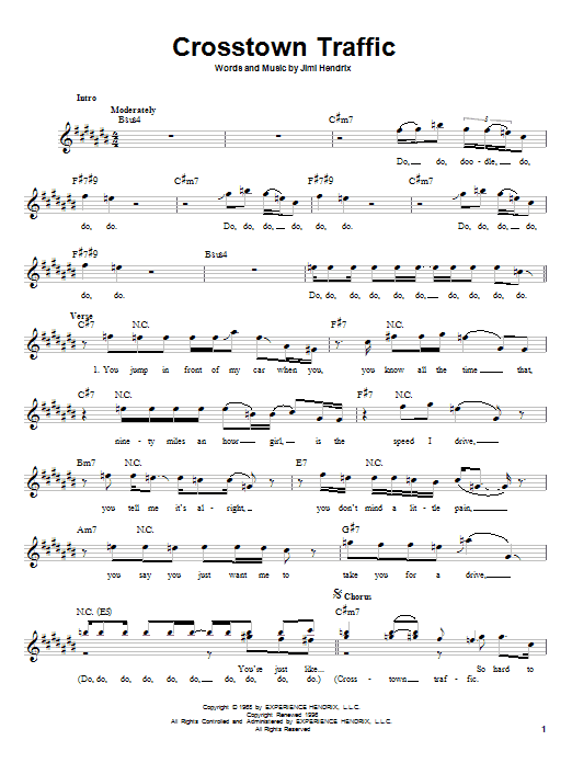 Jimi Hendrix Crosstown Traffic sheet music notes and chords
