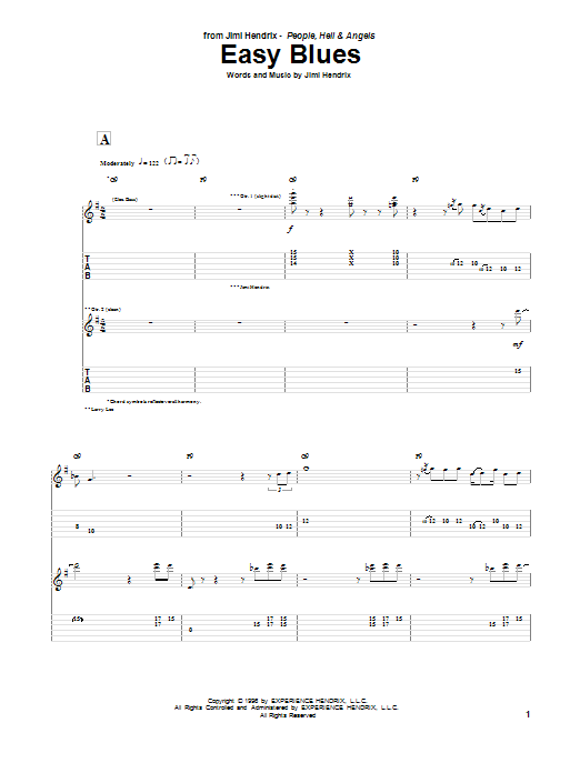 Jimi Hendrix Easy Blues sheet music notes and chords. Download Printable PDF.