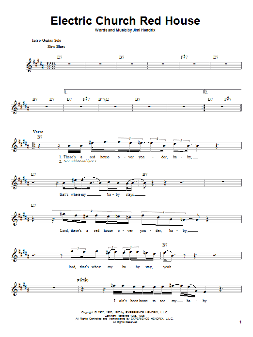 Jimi Hendrix Electric Church Red House sheet music notes and chords. Download Printable PDF.