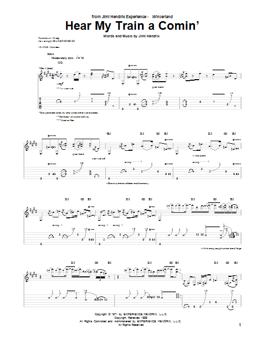 Jimi Hendrix Hear My Train A Comin' sheet music notes and chords. Download Printable PDF.