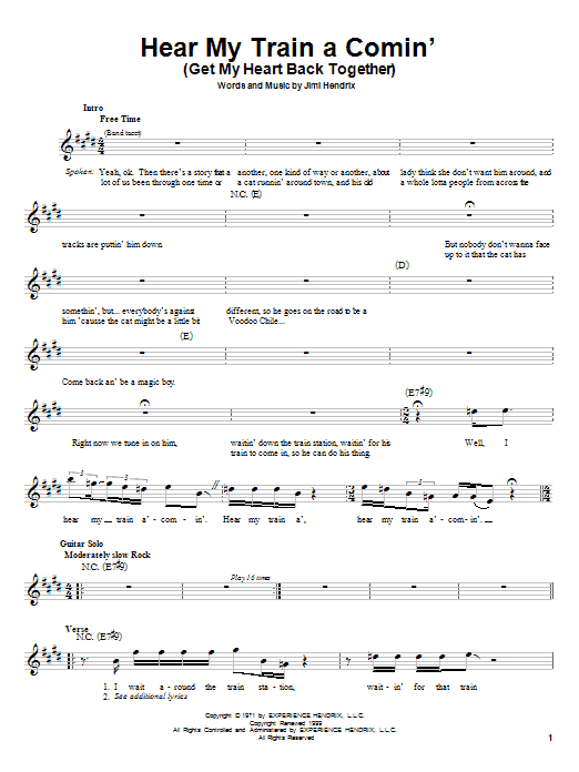 Jimi Hendrix Hear My Train A Comin' (Get My Heart Back Together) sheet music notes and chords. Download Printable PDF.
