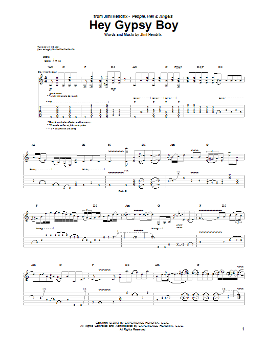 Jimi Hendrix Hey Gypsy Boy sheet music notes and chords. Download Printable PDF.
