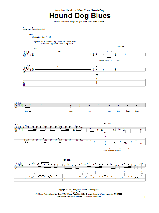 Jimi Hendrix Hound Dog Blues sheet music notes and chords. Download Printable PDF.