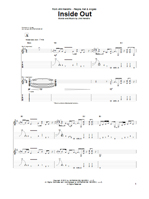 Jimi Hendrix Inside Out sheet music notes and chords. Download Printable PDF.