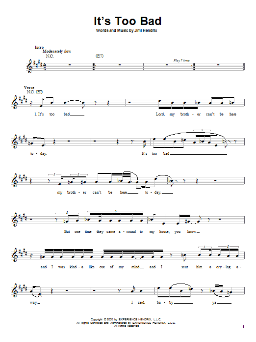 Jimi Hendrix It's Too Bad sheet music notes and chords. Download Printable PDF.
